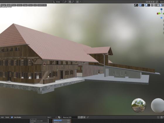 Bauernhaus mit Stall  am bauen